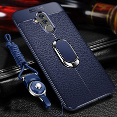 Silikon Hülle Handyhülle Gummi Schutzhülle Leder Tasche mit Magnetisch Fingerring Ständer T01 für Huawei Mate 20 Lite Blau
