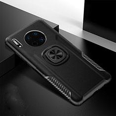 Silikon Hülle Handyhülle Gummi Schutzhülle Leder Tasche mit Magnetisch Fingerring Ständer T01 für Huawei Mate 30 Schwarz