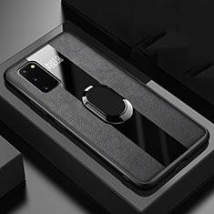 Silikon Hülle Handyhülle Gummi Schutzhülle Leder Tasche mit Magnetisch Fingerring Ständer T01 für Samsung Galaxy S20 5G Schwarz