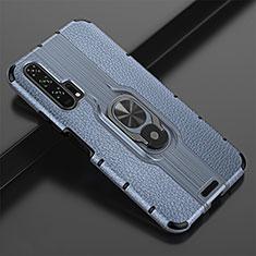 Silikon Hülle Handyhülle Gummi Schutzhülle Leder Tasche mit Magnetisch Fingerring Ständer T02 für Huawei Honor 20 Pro Blau