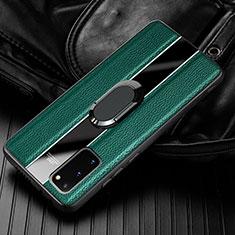 Silikon Hülle Handyhülle Gummi Schutzhülle Leder Tasche mit Magnetisch Fingerring Ständer T02 für Samsung Galaxy S20 5G Grün
