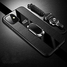 Silikon Hülle Handyhülle Gummi Schutzhülle Leder Tasche mit Magnetisch Fingerring Ständer T03 für Apple iPhone 11 Schwarz