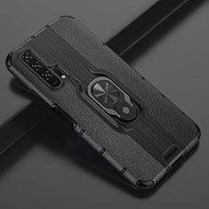 Silikon Hülle Handyhülle Gummi Schutzhülle Leder Tasche mit Magnetisch Fingerring Ständer T03 für Huawei Honor 20 Pro Schwarz