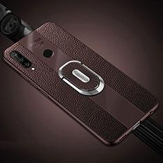 Silikon Hülle Handyhülle Gummi Schutzhülle Leder Tasche mit Magnetisch Fingerring Ständer T03 für Huawei Nova 4e Braun