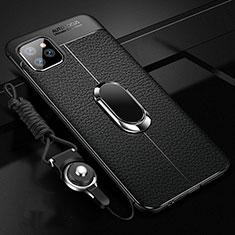 Silikon Hülle Handyhülle Gummi Schutzhülle Leder Tasche mit Magnetisch Fingerring Ständer T04 für Apple iPhone 11 Pro Max Schwarz