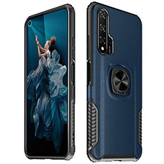Silikon Hülle Handyhülle Gummi Schutzhülle Leder Tasche mit Magnetisch Fingerring Ständer T04 für Huawei Honor 20 Pro Blau