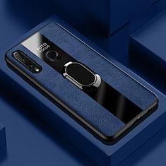 Silikon Hülle Handyhülle Gummi Schutzhülle Leder Tasche mit Magnetisch Fingerring Ständer T04 für Huawei Honor 20i Blau