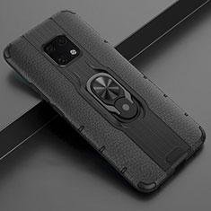 Silikon Hülle Handyhülle Gummi Schutzhülle Leder Tasche mit Magnetisch Fingerring Ständer T04 für Huawei Mate 20 Pro Schwarz