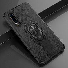Silikon Hülle Handyhülle Gummi Schutzhülle Leder Tasche mit Magnetisch Fingerring Ständer T04 für Huawei P30 Schwarz