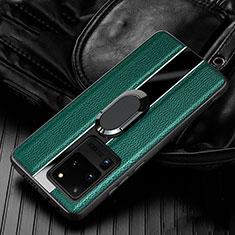 Silikon Hülle Handyhülle Gummi Schutzhülle Leder Tasche mit Magnetisch Fingerring Ständer T04 für Samsung Galaxy S20 Ultra 5G Grün