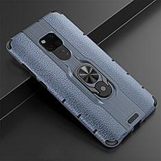 Silikon Hülle Handyhülle Gummi Schutzhülle Leder Tasche mit Magnetisch Fingerring Ständer T05 für Huawei Mate 20 Blau