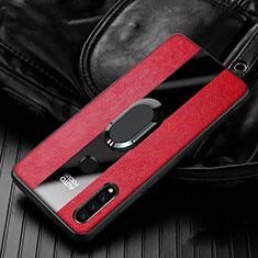 Silikon Hülle Handyhülle Gummi Schutzhülle Leder Tasche mit Magnetisch Fingerring Ständer T05 für Huawei Nova 4e Rot