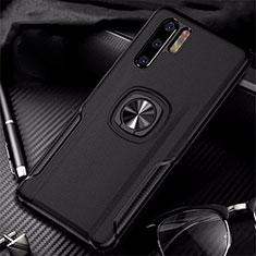 Silikon Hülle Handyhülle Gummi Schutzhülle Leder Tasche mit Magnetisch Fingerring Ständer T05 für Huawei P30 Pro Schwarz