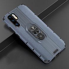 Silikon Hülle Handyhülle Gummi Schutzhülle Leder Tasche mit Magnetisch Fingerring Ständer T06 für Huawei P30 Pro Blau