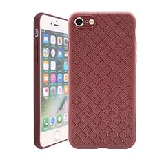 Silikon Hülle Handyhülle Gummi Schutzhülle Leder Tasche S01 für Apple iPhone 7 Braun
