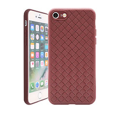 Silikon Hülle Handyhülle Gummi Schutzhülle Leder Tasche S01 für Apple iPhone SE (2020) Braun