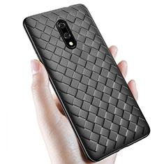 Silikon Hülle Handyhülle Gummi Schutzhülle Leder Tasche S01 für OnePlus 7 Schwarz