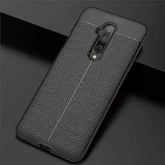 Silikon Hülle Handyhülle Gummi Schutzhülle Leder Tasche S01 für OnePlus 7T Pro Schwarz