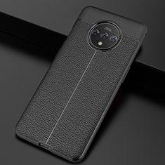 Silikon Hülle Handyhülle Gummi Schutzhülle Leder Tasche S01 für OnePlus 7T Schwarz