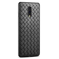 Silikon Hülle Handyhülle Gummi Schutzhülle Leder Tasche S01 für Oppo Realme X Schwarz