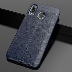 Silikon Hülle Handyhülle Gummi Schutzhülle Leder Tasche S01 für Samsung Galaxy A30 Blau