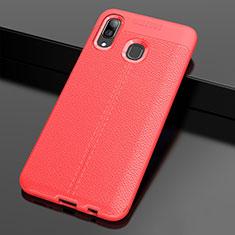 Silikon Hülle Handyhülle Gummi Schutzhülle Leder Tasche S01 für Samsung Galaxy A30 Rot