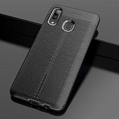 Silikon Hülle Handyhülle Gummi Schutzhülle Leder Tasche S01 für Samsung Galaxy A30 Schwarz