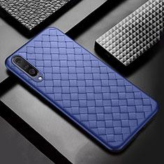 Silikon Hülle Handyhülle Gummi Schutzhülle Leder Tasche S01 für Samsung Galaxy A50 Blau