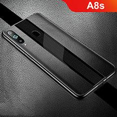 Silikon Hülle Handyhülle Gummi Schutzhülle Leder Tasche S01 für Samsung Galaxy A8s SM-G8870 Schwarz