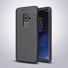 Silikon Hülle Handyhülle Gummi Schutzhülle Leder Tasche S01 für Samsung Galaxy S9 Plus Schwarz