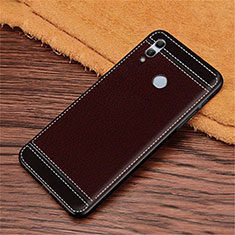 Silikon Hülle Handyhülle Gummi Schutzhülle Leder Tasche S02 für Huawei Honor 10 Lite Braun