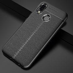 Silikon Hülle Handyhülle Gummi Schutzhülle Leder Tasche S02 für Huawei P20 Lite Schwarz