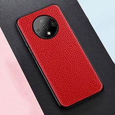 Silikon Hülle Handyhülle Gummi Schutzhülle Leder Tasche S02 für OnePlus 7T Rot