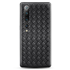 Silikon Hülle Handyhülle Gummi Schutzhülle Leder Tasche S02 für Xiaomi Mi 10 Pro Schwarz
