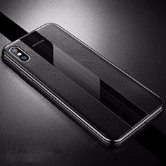 Silikon Hülle Handyhülle Gummi Schutzhülle Leder Tasche S06 für Apple iPhone X Schwarz