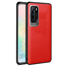 Silikon Hülle Handyhülle Gummi Schutzhülle Leder Tasche S08 für Huawei P40 Rot