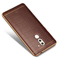 Silikon Hülle Handyhülle Gummi Schutzhülle Leder W01 für Huawei Honor 6X Braun
