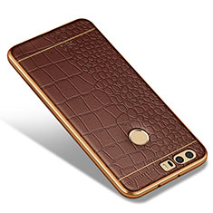 Silikon Hülle Handyhülle Gummi Schutzhülle Leder W01 für Huawei Honor 8 Braun