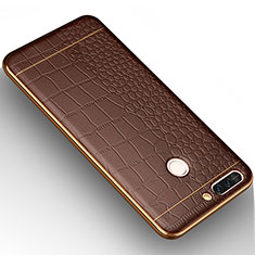 Silikon Hülle Handyhülle Gummi Schutzhülle Leder W01 für Huawei Honor 8 Pro Braun