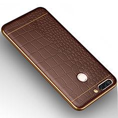 Silikon Hülle Handyhülle Gummi Schutzhülle Leder W01 für Huawei Honor V9 Braun