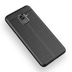 Silikon Hülle Handyhülle Gummi Schutzhülle Leder W01 für Samsung Galaxy A5 (2018) A530F Schwarz