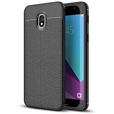 Silikon Hülle Handyhülle Gummi Schutzhülle Leder W01 für Samsung Galaxy J7 (2018) J737 Schwarz