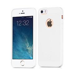 Silikon Hülle Handyhülle Gummi Schutzhülle Loch für Apple iPhone 5 Weiß