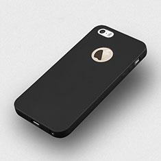 Silikon Hülle Handyhülle Gummi Schutzhülle Loch für Apple iPhone 5S Schwarz