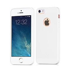 Silikon Hülle Handyhülle Gummi Schutzhülle Loch für Apple iPhone SE Weiß
