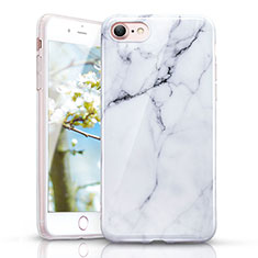 Silikon Hülle Handyhülle Gummi Schutzhülle Marmor Muster für Apple iPhone 7 Weiß
