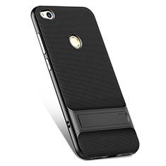 Silikon Hülle Handyhülle Gummi Schutzhülle mit Ständer für Huawei Honor 8 Lite Schwarz
