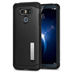 Silikon Hülle Handyhülle Gummi Schutzhülle mit Ständer für LG G6 Schwarz