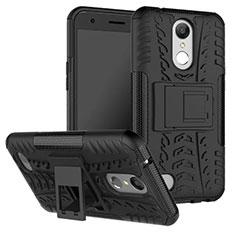 Silikon Hülle Handyhülle Gummi Schutzhülle mit Ständer für LG K10 (2017) Schwarz