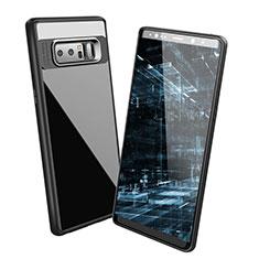 Silikon Hülle Handyhülle Gummi Schutzhülle Spiegel für Samsung Galaxy Note 8 Schwarz
